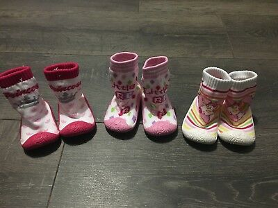 bay babies girls PINK non slip soles sneekers slippers shoes 9-12-15-18-21