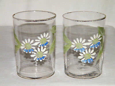 Antique/Victorian Set (2) HAND PAINTED ENAMEL GLASS TUMBLERS Blue White Green