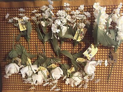 13 White Floral Stems ~3 Different Styles~ Assortment~Floral/Wedding DIY