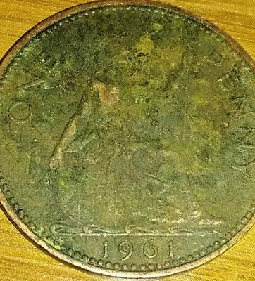 Great Britain Gb Uk Km897 1961 Vf-Very Nice Old Vintage Large Penny Coin