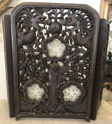 Antique Asian Chinese Carved Wood & Jade Medallion Plaque Folding Screen Panel