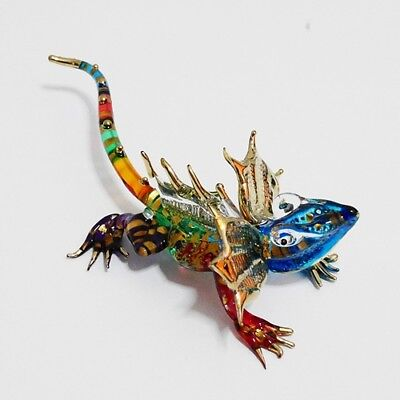 Dragon Reptile Animal Figurine Hand Paint Blown Glass Art Decor Collectible Gift