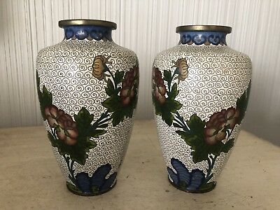 "Vintage Antique Pair Of 6"" Chinese Asian Cloisonne Enamel Vases White & Floral"