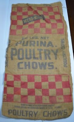 Vintage PURINA POULTRY CHOW Burlap Feed Sack Checkerboard
