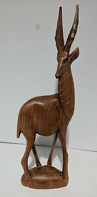 "Vintage Wood Carving of a Gazelle - Hand Carved in Kenya - Appox.12"" Tall - Nice"