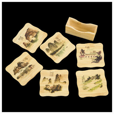 6 Pcs Chinese Calligraphy Paintings Pattern Bamboo Coasters Cup Mats with H C5R9