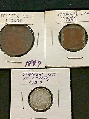 Lot #280 - Straits Settlements 1887 & 1920 Cent, 1927 Silver 10 Cents