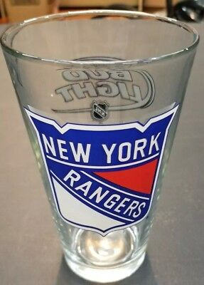 New York Rangers Ice Hockey Bud Light Beer Bar Pint Glass