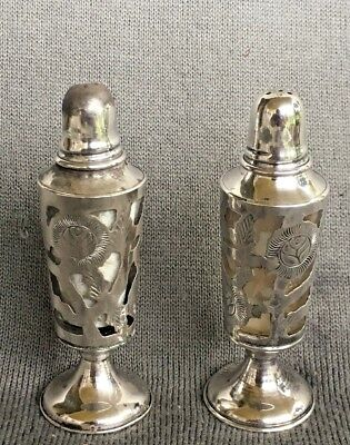 Vintage (1950's) .925 'Taxco' Sterling Silver and Glass Salt & Pepper Shakers