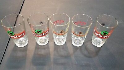 Set Of 5 Budweiser Beer Bar Pint Pub Glasses