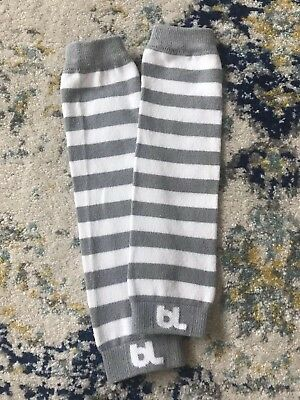 Baby Leggings Leg Warmers Grey and White Striped 11 Inch