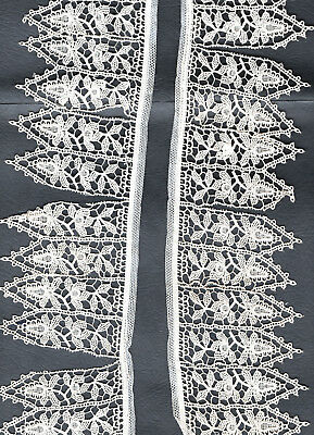 Antique  Lace. 1 Y rd. 17 Pieces  Attached to Netting. Original Used.