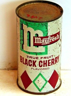 Mayfresh Black Cherry; Mayfair Markets; solid top / flat top Steel Soda Pop Can
