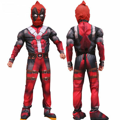 3D Kids Deadpool Costume Lycra Spandex Zentai Mask and Custome US Shipping
