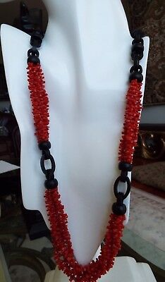 African Hand made Ebony wood and 100% Natural Coral necklace from Torre del Grec