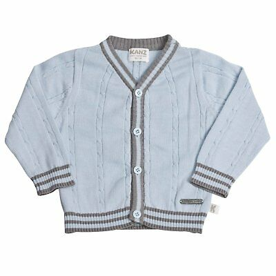Kanz Baby Boys Blue Size 12 Months Long Sleeve Cotton Striped Cardigan Sweater