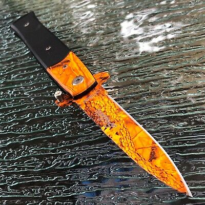 """8.5"""" SPRING ASSISTED TACTICAL STILETTO MILANO POCKET KNIFE Blade Camo Open"""