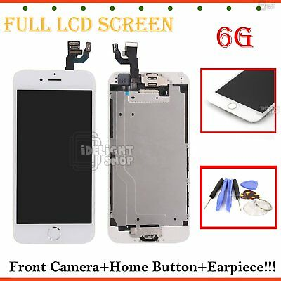 Pre-installed Home Button For iPhone 6 Touch Screen White LCD Display Digitizer