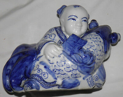 Vintage Porcelain Blue and White Figurine Asian Boy with Koi Fish