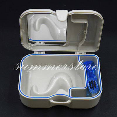 Dental Denture Plastic Storage Box Case With Mirror and Clean Brush Appliance