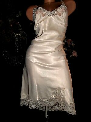 Vtg Satin Shiny Dior Loved Lacy Pin Up Antique Slip Nightgown 42