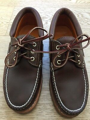 4bab5b8d5 Timberland Classic 3-eye Handsewn Lug Boat Shoes Brown Leather Men s US 7
