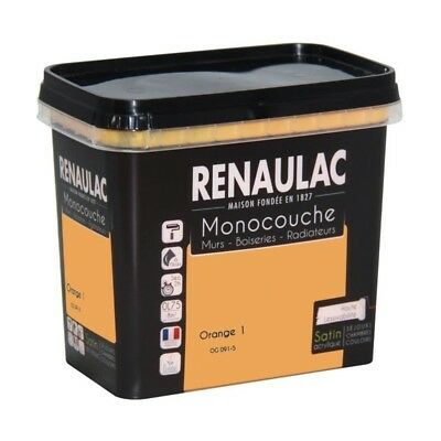 Peinture murale monocouche multi-support 0,75 L orange satin - RENAULAC
