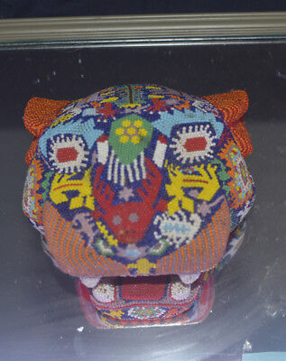 Huichol Folk Art tiger jaguar panther beaded mexican folk art vintage