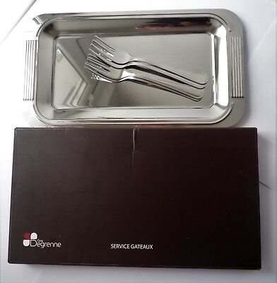 New French Guy Degrenne Stainless Steel Service Gateaux Tray & Four Cake Forks