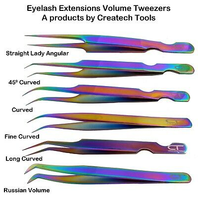 CT Individual False Volume Eyelash Extensions Tweezers Applicator, Rainbow Color