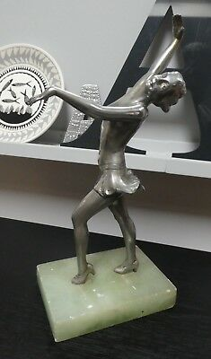 Art Deco Original Polished Silver Spelter Figure Lorenzl Attributed