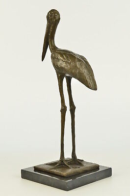 Vintage Style Africa Brass/Bronze Heron or Stork Sculpture Marble Base Figurine