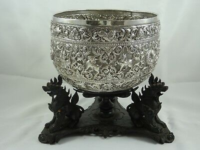 STUNNING INDIAN solid silver ROSE BOWL on STAND, c1890, 728gm