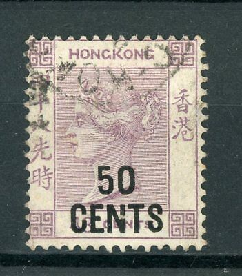 "Hong Kong SG46 50c on 48c ""Queen Victoria"" Used Postage Stamp"