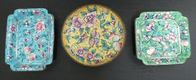 3 Early 20Th Century Cloisonne Enamel Dishes, Chinese. Floral Design On Copper