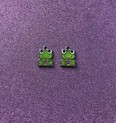 2  Green Enamel Frog Charms