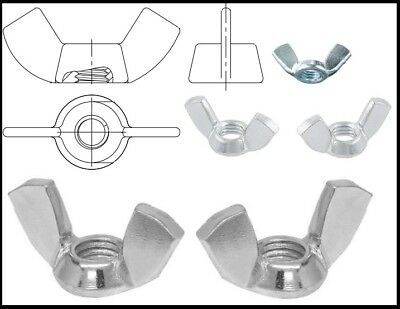 Steel Wing Nuts DIN.315 Zinc Plated For Metric Bolts and Screws M4 M5 M6 M8 M10