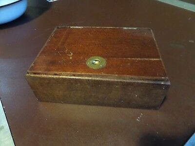 VINTAGE ANTIQUE WOODEN BOX WITH COPPER LINING Humidor brass handle