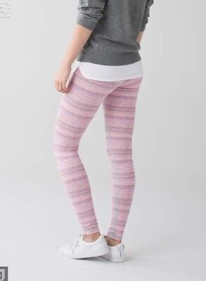 3d492cfac Lululemon Wunder Under Pant III Luxtreme Sz 4 Cyber Stripe Pink Blue Striped