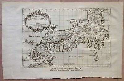 Empire Of Japan Dated 1752 Bellin / Van Schley Nice Antique Copper Engraved Map