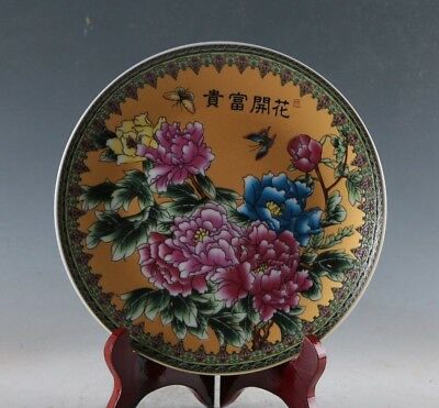 EXQUISITE CHINESE PORCELAIN HANDMADE BLOSSOM & RICH PLATE  b04