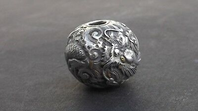Fine 19th c antique Japanese silver & gold ojime dragon in clouds.