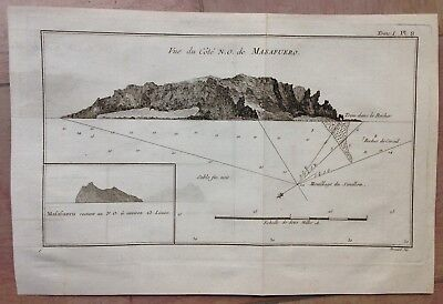 MASAFUERO SOUTH AMERICA 1774 JAMES COOK XVIIIe CENTURY ANTIQUE ENGRAVED MAP
