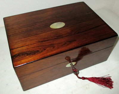 LOVELY VICTORIAN DESK TOP ROSEWOOD & MOTHER OF PEARL BOX with key