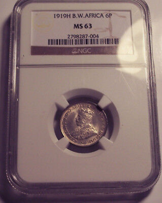 British West Africa 1919 H George V Sixpence 6 Pence NGC MS 63. 8,676,000 Minted