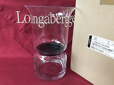 "Longaberger Small Fill In Hurricane - Glass - Holds 3"" x 6"" candle - NEW"