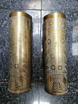 WW1 Great War 1914 - 1918 Trench Art French made Lorraine cross 75mm shell cases