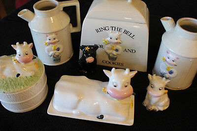 Butter Cup Collection - Ceramic Cows - 7 Items, 10 Pieces Bst 1979, Cookie Jar