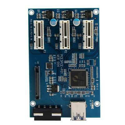 PCI-e Express 1X To 3 Port 1X Switch Multiplier HUB Riser Card +USB Cable 1PC O