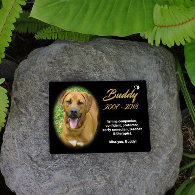"Pet Memorial Photo Plaque Personalised. Your Photo & Words. 5""x7"" (13x18cm)"